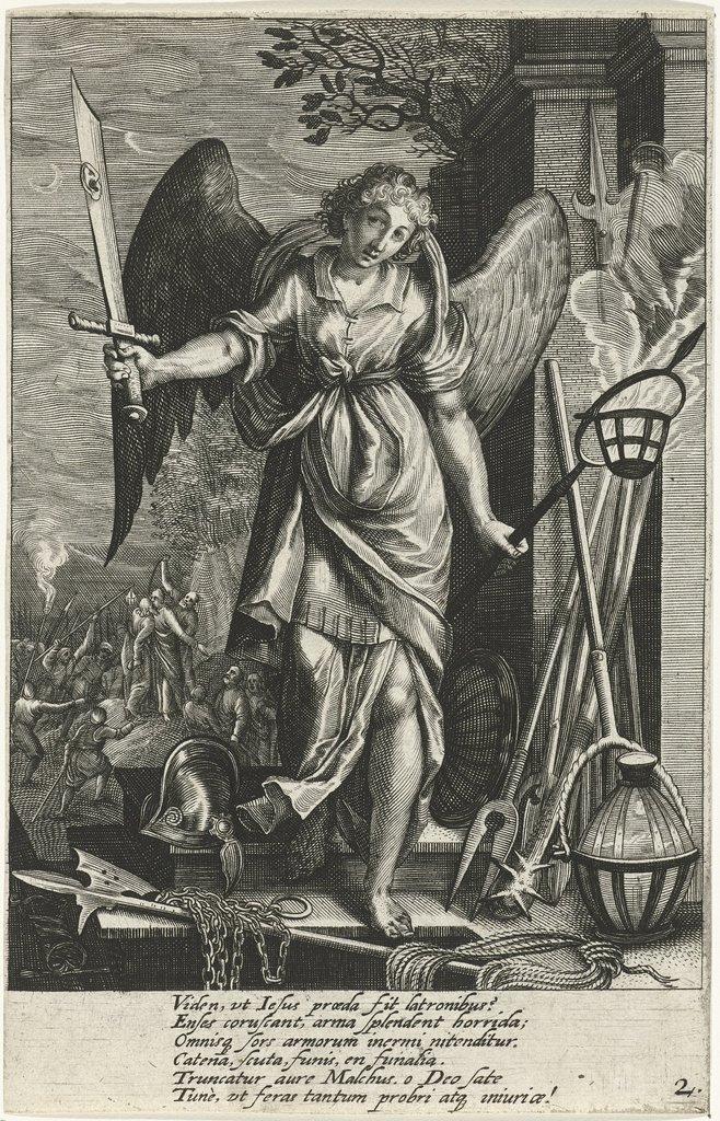 Engel met zwaard met het oor van Malchus
