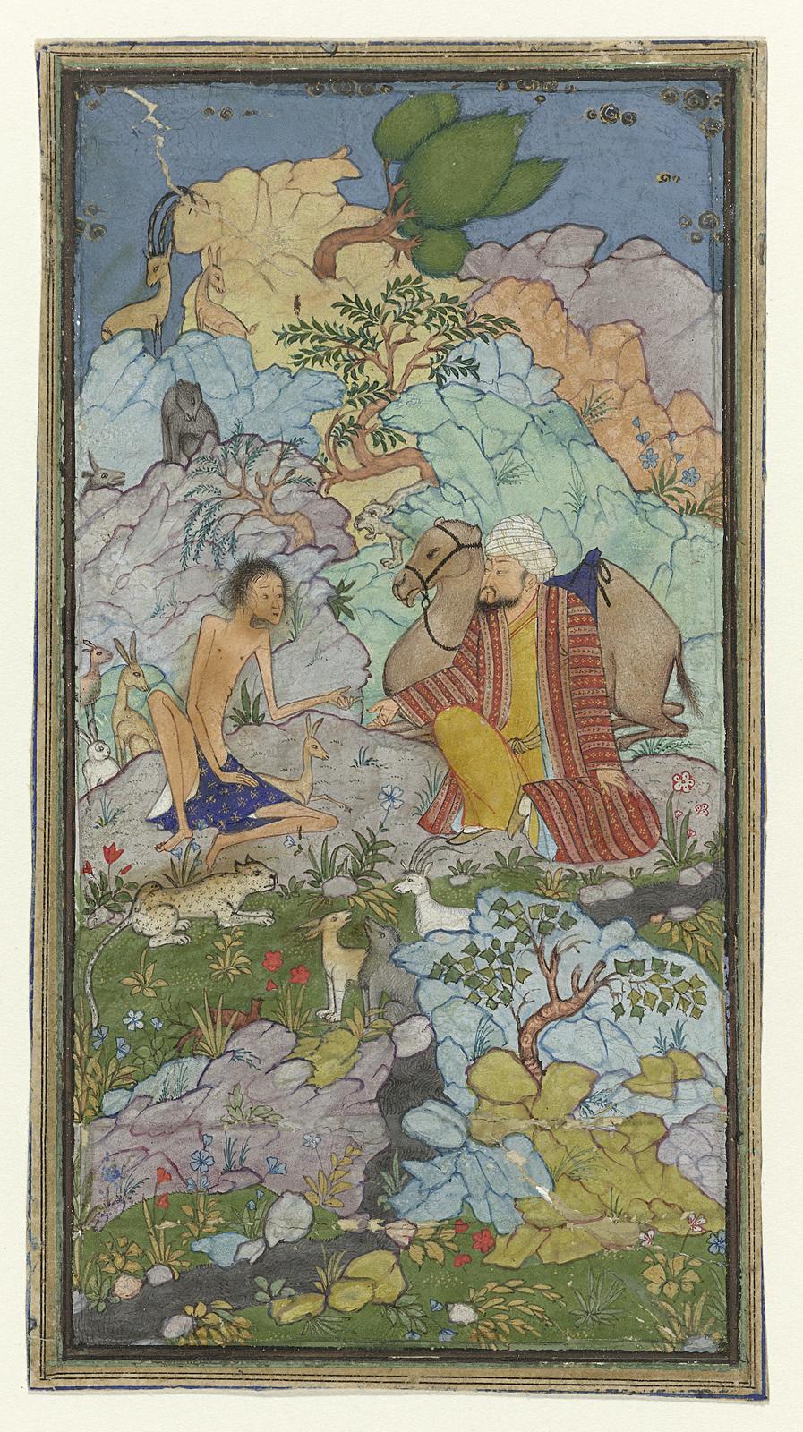 Episode uit de liefdesgeschiedenis van Laila en Majnun, de vermagerde Majnun zit in een landschap met een man en zijn kameel