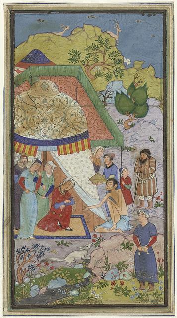 Episode uit de liefdesgeschiedenis van Laila en Majnun, Majnun in gesprek met Laila voor een tent