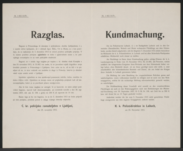 Erneute Meldung der Flüchtlinge - Kundmachung - Laibach - Mehrsprachiges Plakat