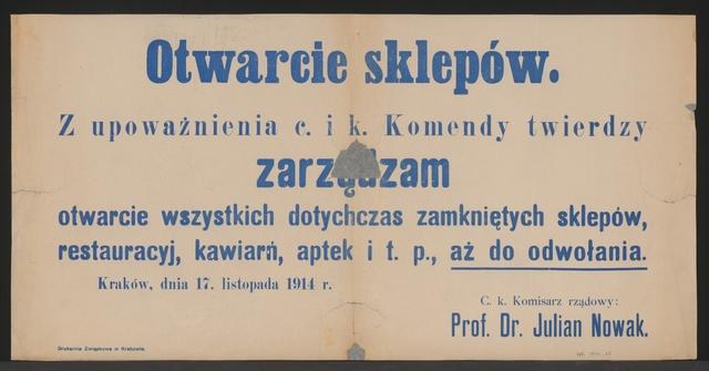 Eröffnung der Läden - Krakau - In polnischer Sprache