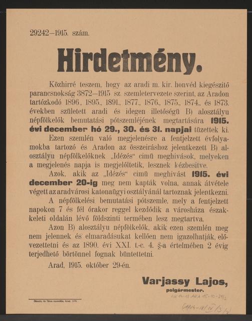 Ersatzmusterung - Kundmachung - Arad - In ungarischer Sprache
