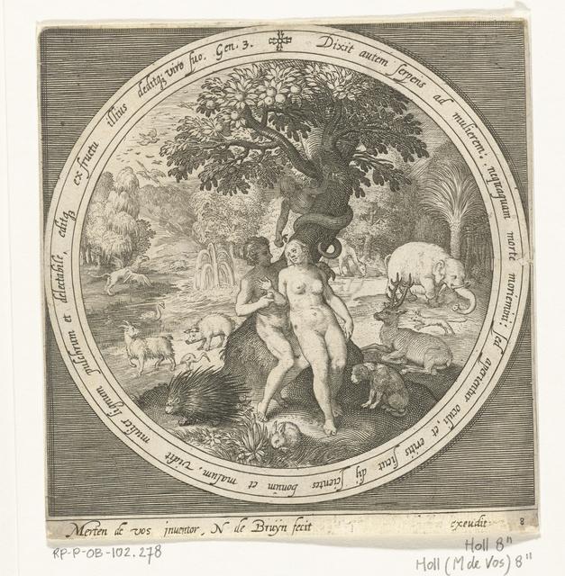 Eva wordt misleid door de slang bij boom der kennis van goed en kwaad