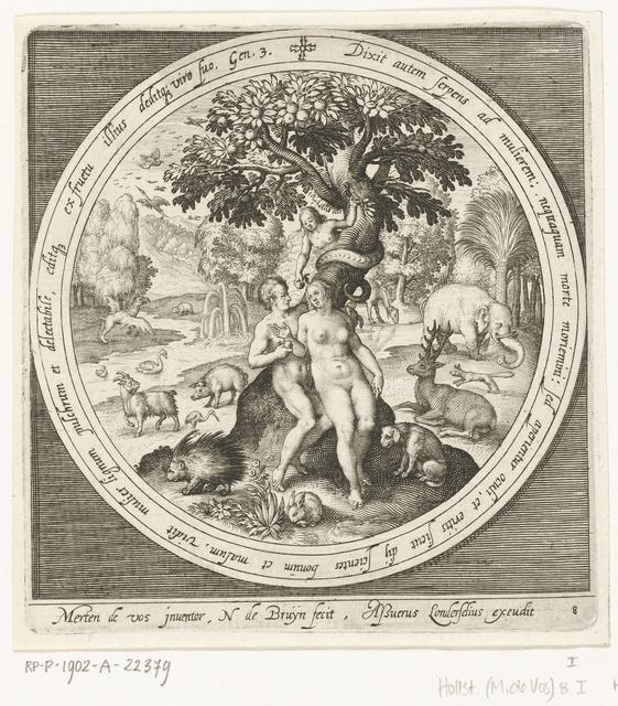 Eva wordt misleid door de slang bij de boom van goed en kwaad