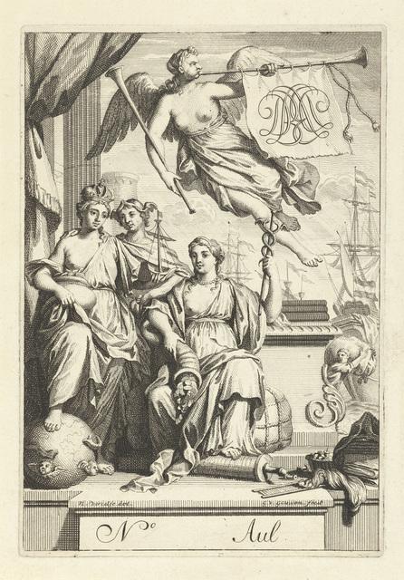 Faam vliegt over de personificaties van handel, overvloed en zeevaart