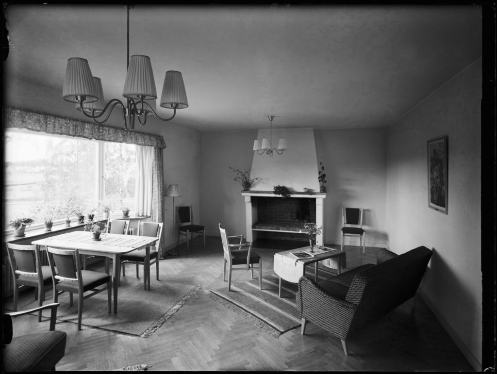 Fagersta lasarett Interiör, möblerat rum med soffa.