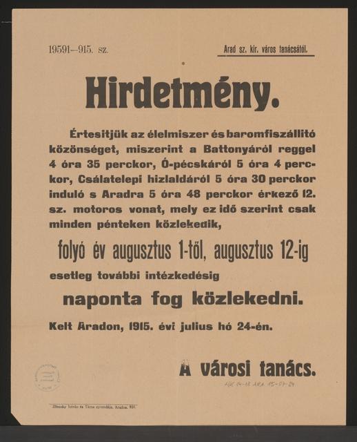 Fahrplanänderung - Kundmachung - Arad - In ungarischer Sprache