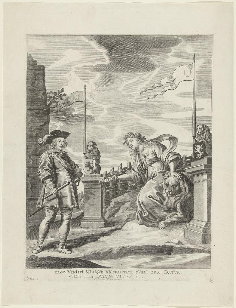 Ferdinand ontvangt van de stedenmaagd van Gent de sleutels van de stad; intocht van Ferdinand te Gent in 1635 (nr. 6)