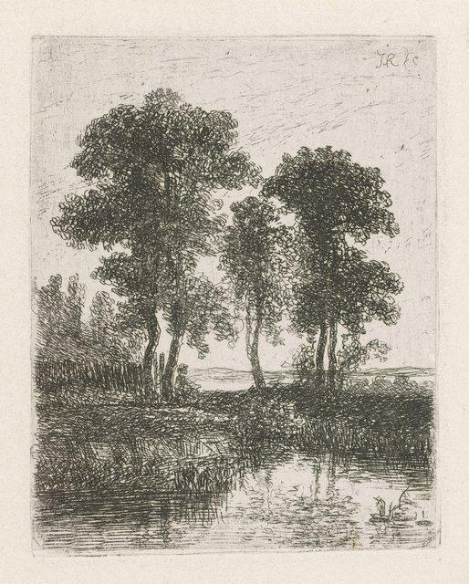 Figuur bij een boom aan de waterkant