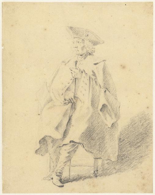 Figuurstudie van een zittende man met een wandelstok