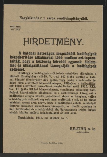 Fluchthelfer verhaften - Kundmachung - Nagykikinda - In ungarischer Sprache