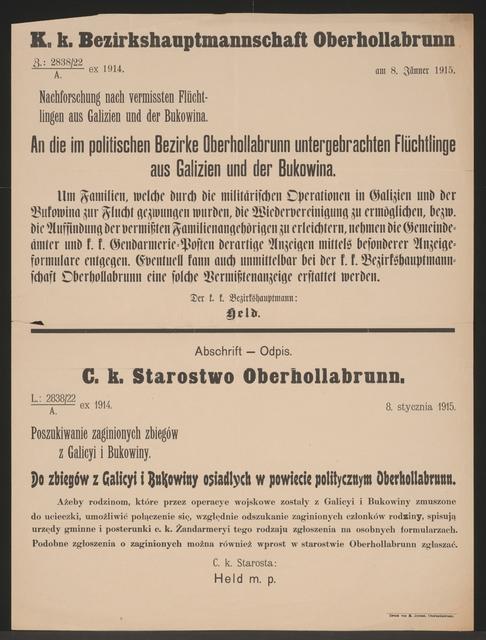 Flüchtlinge aus Galizien und Bukowina – Kundmachung – Oberhollabrunn – Mehrsprachiges Plakat