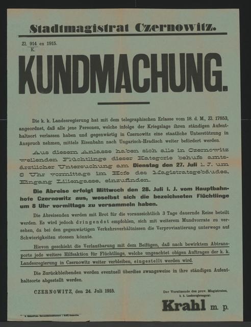 Flüchtlinge - Kundmachung - Czernowitz