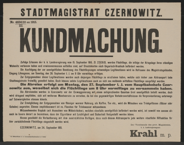 Flüchtlinge nach Ungarisch-Hradisch - Kundmachung - Czernowitz