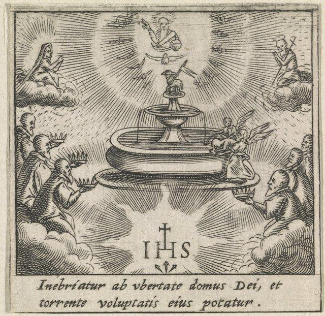 Fontein des levens met het Lam Gods in de hemel