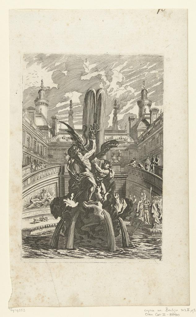 Fontein met twee mannen die een draak vasthouden