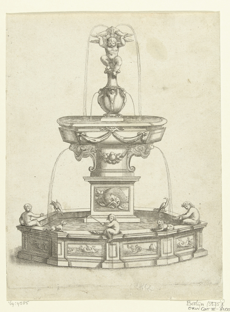 Fontein met waterbassin op hoog voetstuk