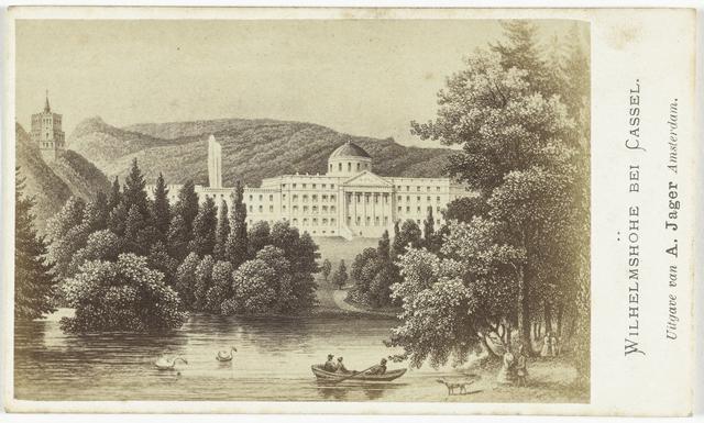 Fotoreproductie van een tekening of gravure: gezicht op paleis Wilhelmshöhe bij Kassel, Duitsland