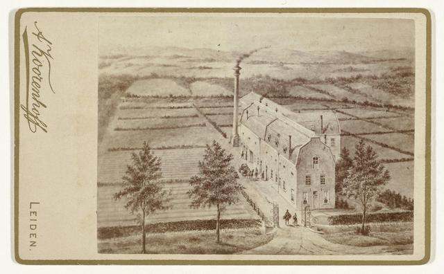 Fotoreproductie van een tekening of prent van fabriek Anna in Noordwijk