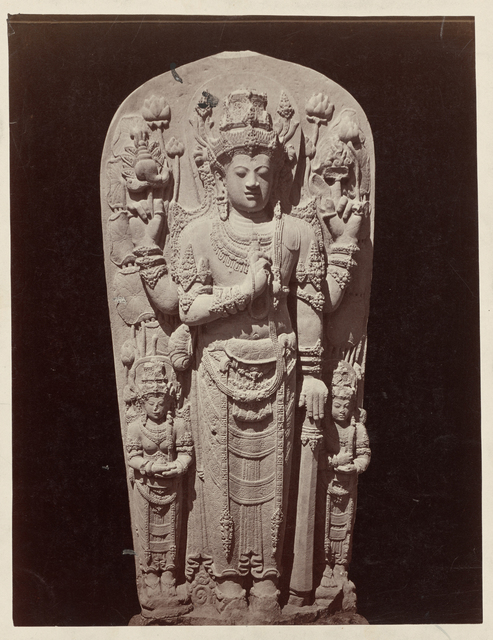 Four-armed deification stele (King Kritarajasa?) from Sumberjati showing features of both Vishnu and Shiva. Blitar, Blitar district, East Java province, 14th century,  Indonesia