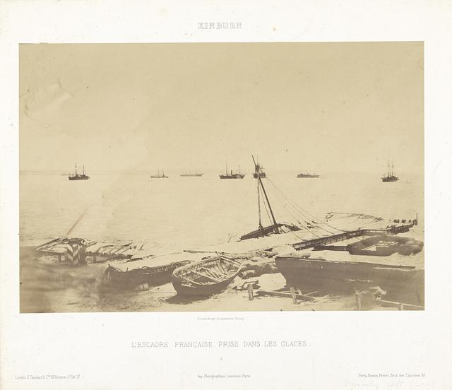 Franse schepen die in het ijs zijn vastgelopen