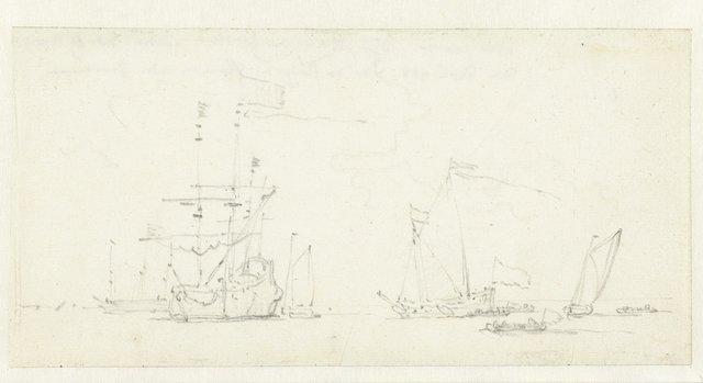 Fregat omringd door kleine vaartuigen