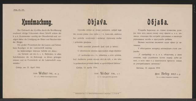 Gebrauch von Cyrillika - Kundmachung - Cetinje - Mehrsprachiges Plakat