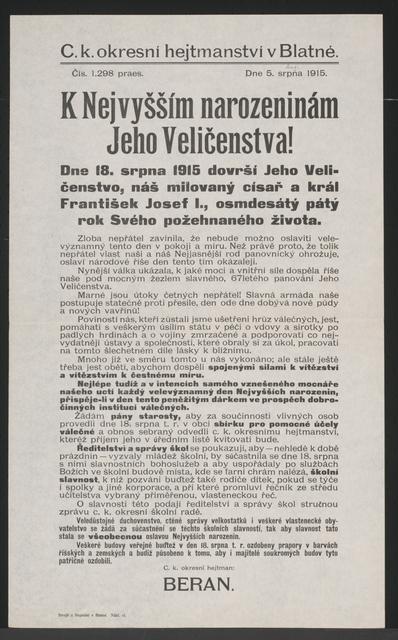 Geburtstag des Kaisers - Blatna - In tschechischer Sprache