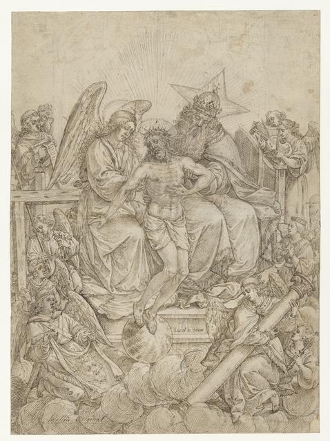 Genadestoel omringd door engelen
