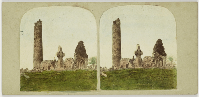 General view of the Antiquities of Monasterboice, County Louth. Ireland