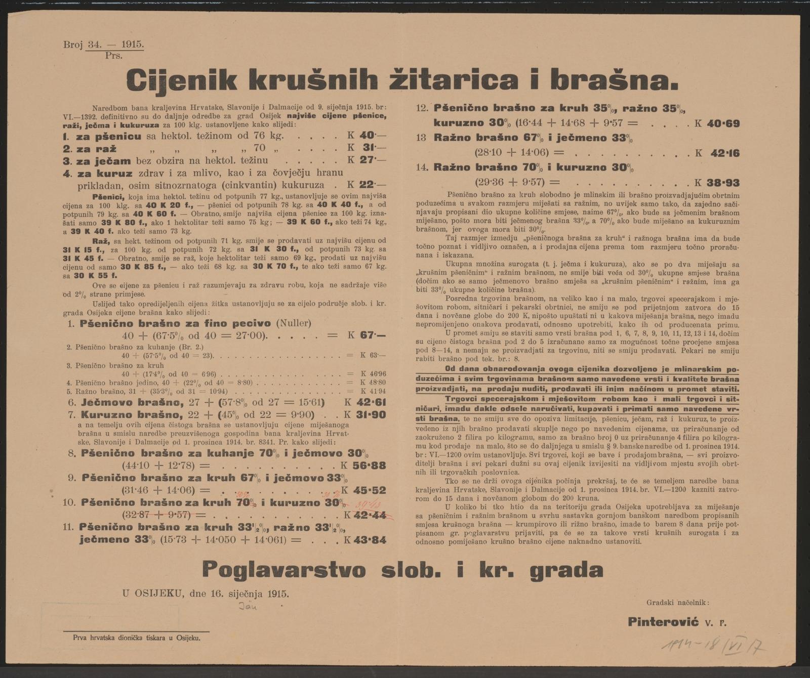 Getreide- und Mehlpreise - Kundmachung - Osijek - In kroatischer Sprache