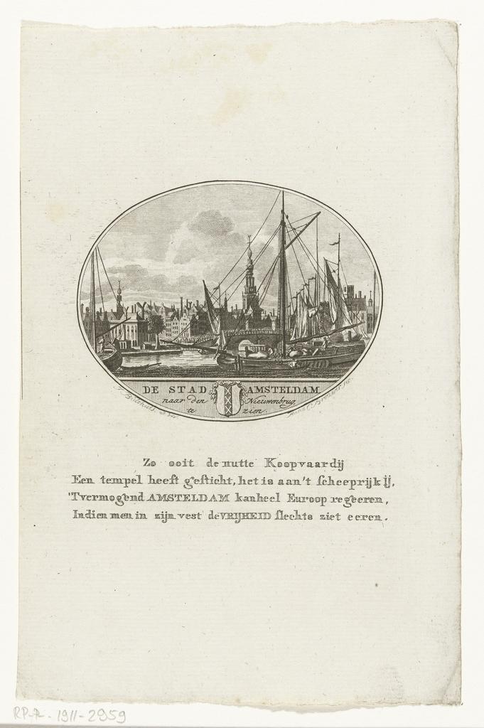 Gezicht op de haven van Amsterdam vanaf het IJ