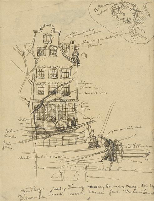 Gezicht op een Amsterdamse gevel, met ervoor in de gracht enige schuiten; bovenaan een vrouwenportretje