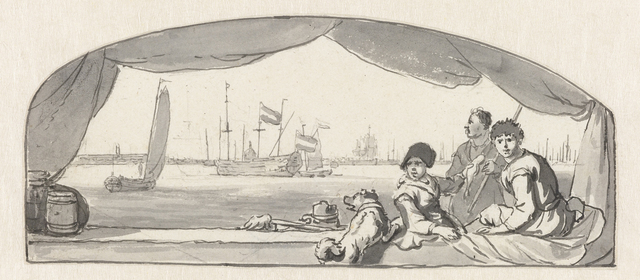 Gezicht op een haven met op de voorgrond vissers met een hond