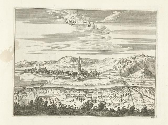 Gezicht op Fribourg, ca. 1702