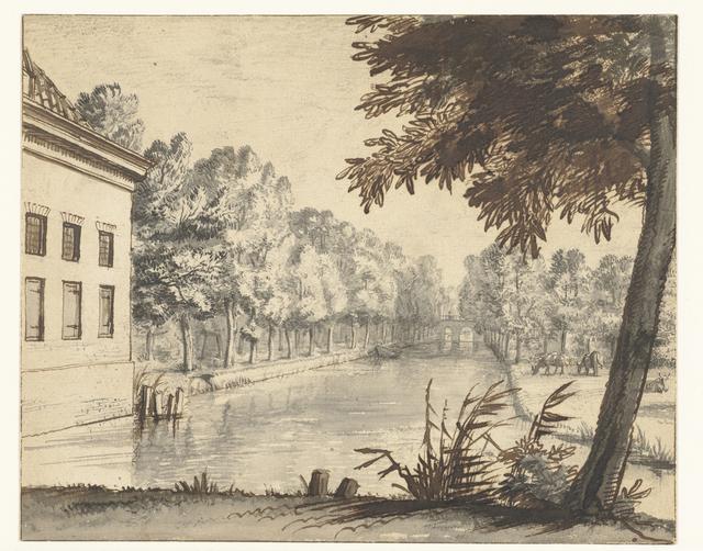 Gezicht over een gracht of kanaal langs een landhuis
