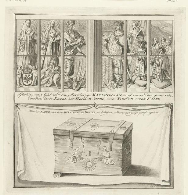 Glasraam van Maximiliaan I en de kist waarin de miraculeuze hostie werd bewaard