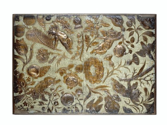 """Goudleer met dessin dat voor komt op """"De Kaartspelers"""" van Pieter de Hoogh"""