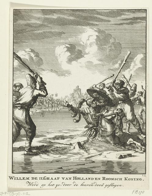 Graaf Willem II zakt bij Hoogwoud door het ijs, 1256