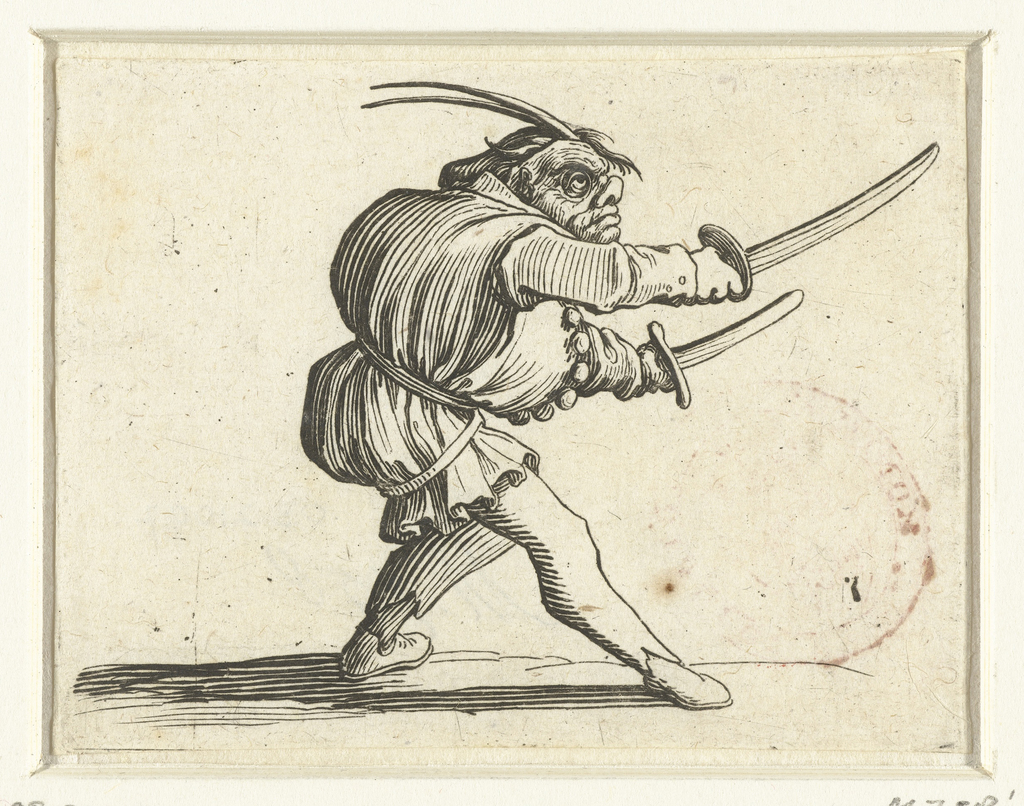 Groteske figuur met twee zwaarden