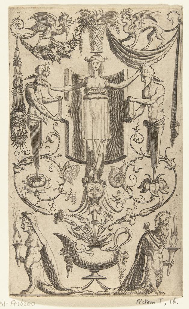 Groteske vlakdecoratie met een vrouw en twee hermen