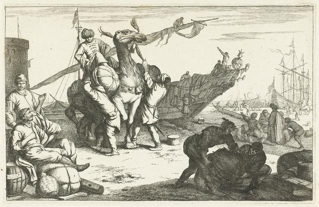 Haven met kooplieden en kameel