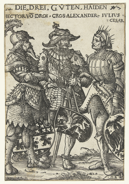 Hector van Troje, Alexander de Grote en Julius Caesar als drie helden uit de Oudheid