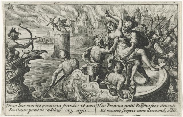 Hecuba weggevoerd bij de graven van haar zonen
