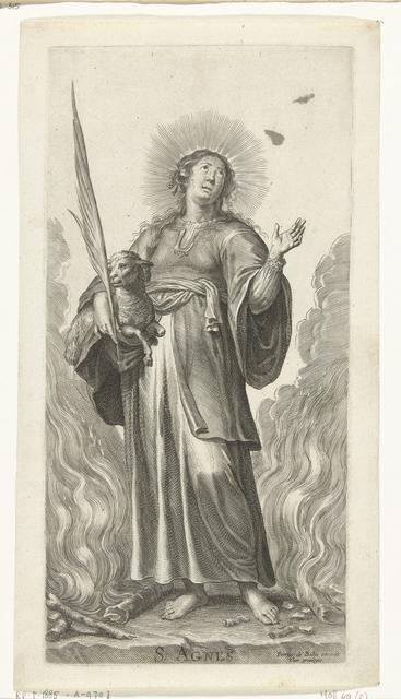 Heilige Agnes als martelares met lam tussen de vlammen