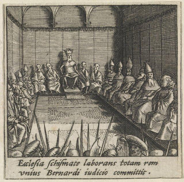 Heilige Bernardus van Clairvaux bewaart de vrede tijdens de synode van Étampes