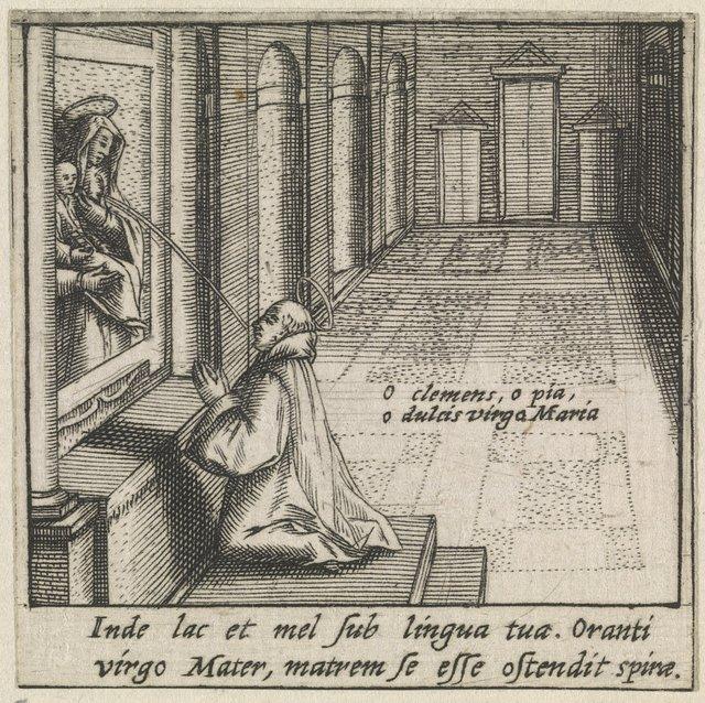 Heilige Bernardus van Clairvaux ontvangt in een visioen de moedermelk van de maagd Maria (Lactatio Bernardi)