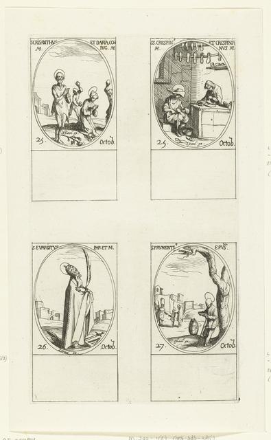 Heilige Chrysanthus en Heilige Daria van Rome, Heilige Crispinus en Heilige Crispinianus van Soissons, Heilige Evaristus, Heilige Frumentius van Ethiopië (25-27 oktober)