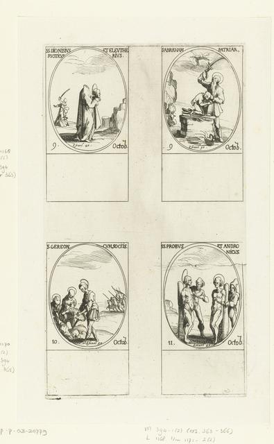 Heilige Dionysius van Parijs, Heilige Eleutherius en Heilige Rusticus, Heilige Abraham, Heilige Gereon van Keulen en gezellen, Heilige Probus en Heilige Andronicus (9-11 oktober)