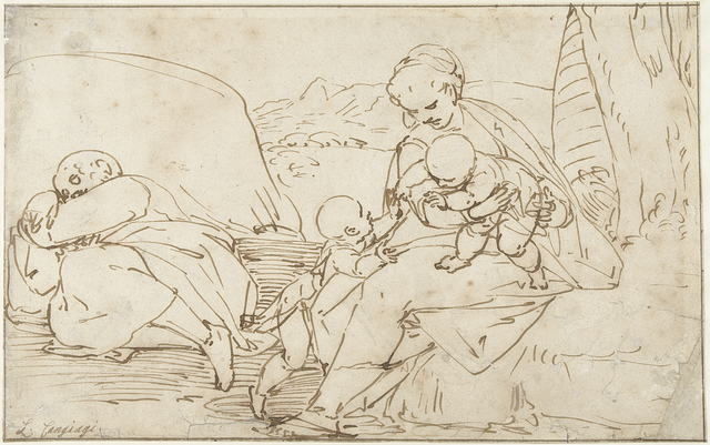 Heilige Familie met Johannes de Doper als kind in een landschap